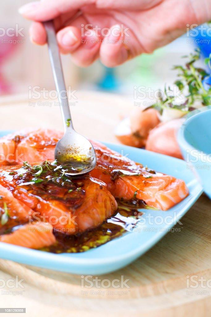 Salmon in Marinade stock photo