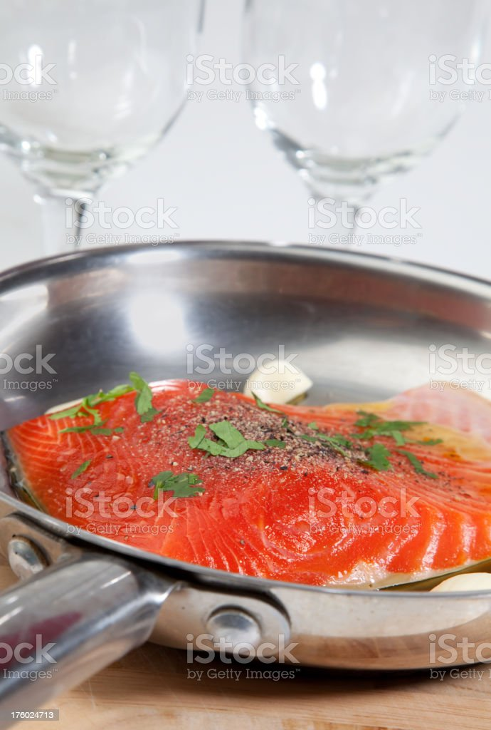 Salmon in Pan stock photo