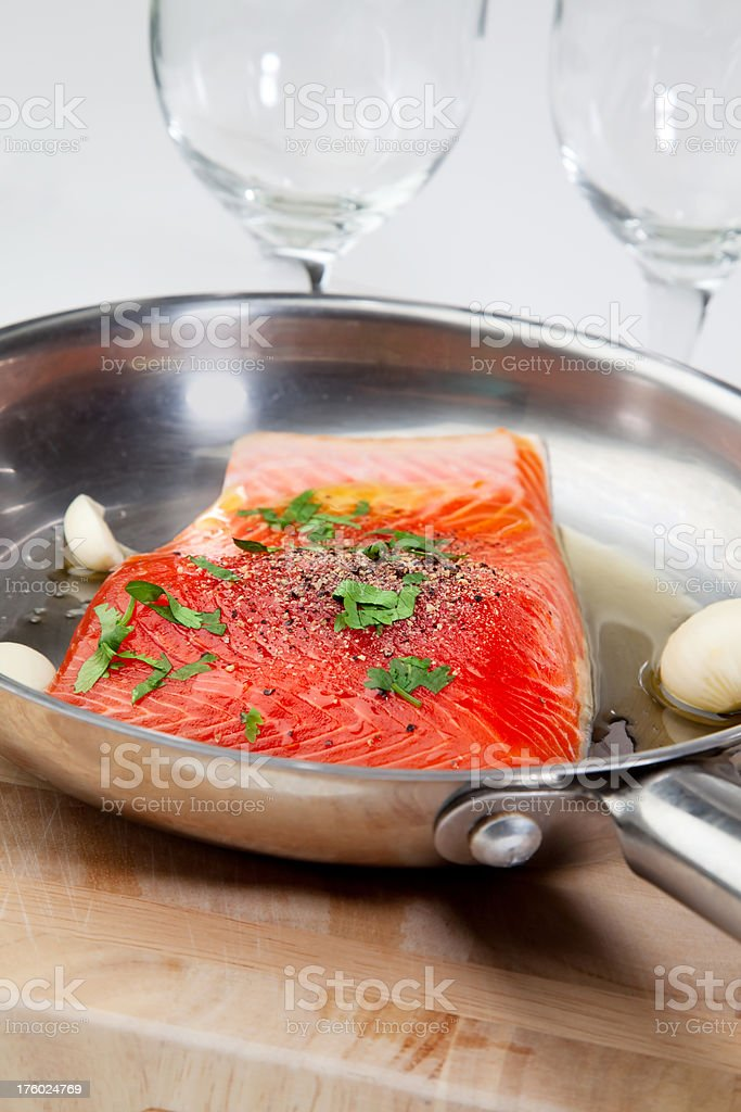 Salmon in pan royalty-free stock photo