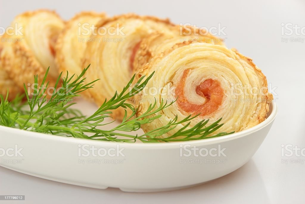 salmon in puff pastry royalty-free stock photo
