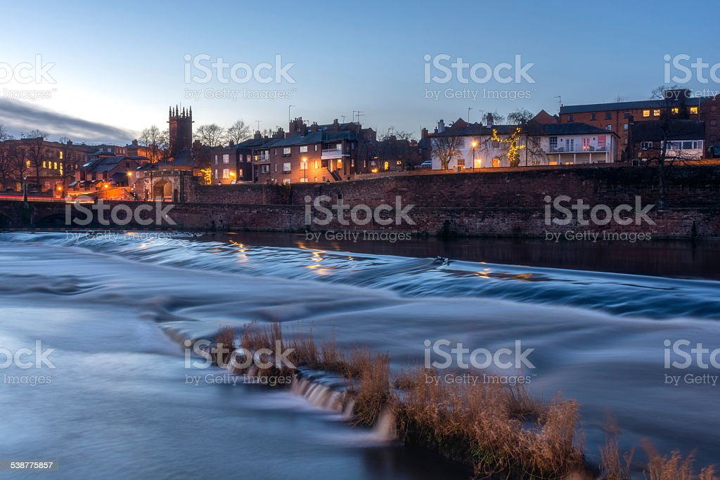 Salmon Leap on the River Dee in Chester stock photo