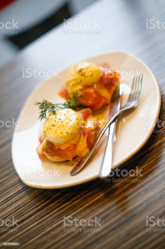 salmon lox eggs benedict stock photo