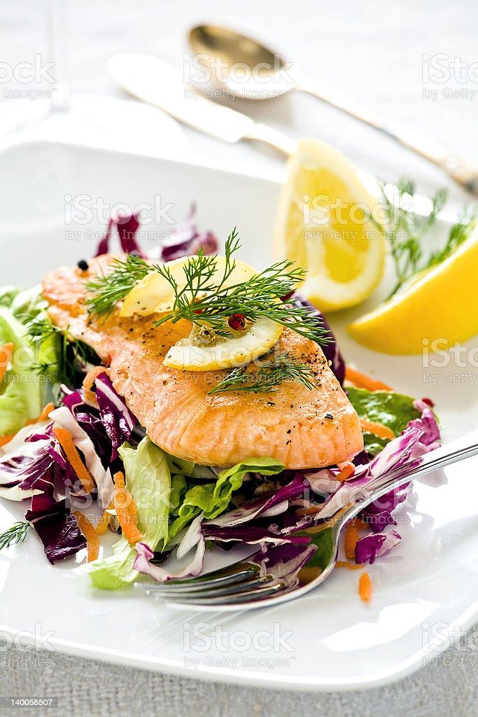 Salmon Meal stock photo