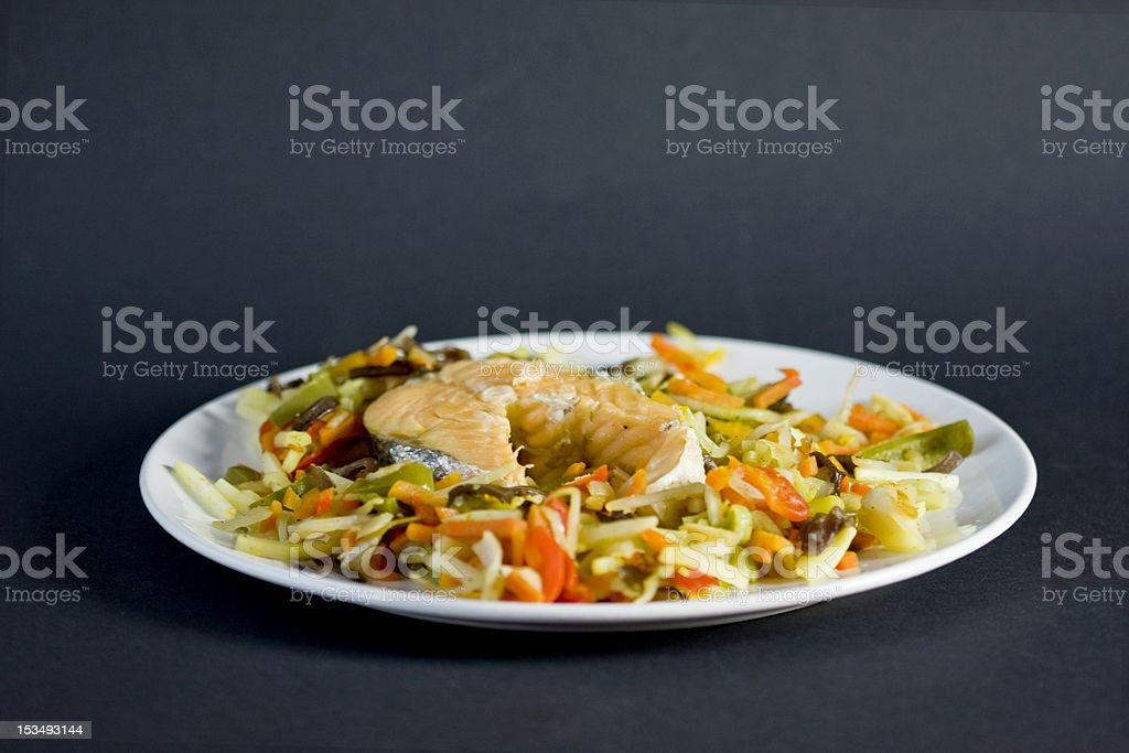 Salmon meal royalty-free stock photo