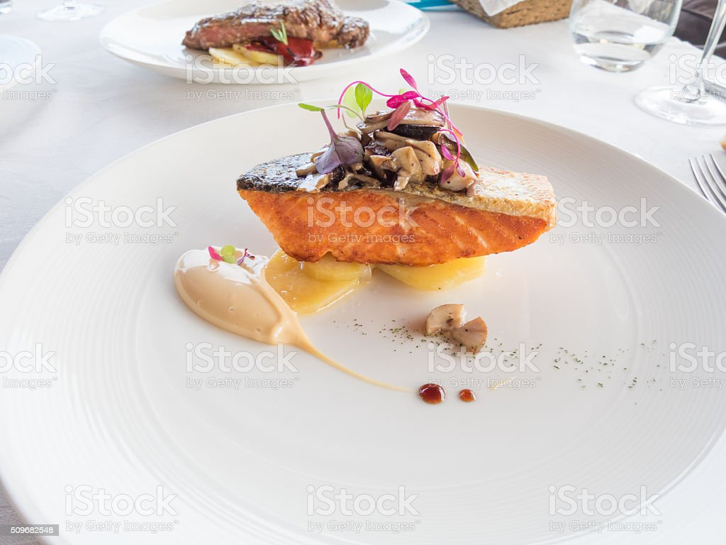 salmon modern dish stock photo