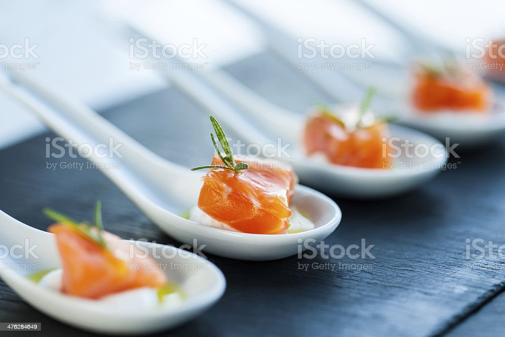 Salmon morsel. stock photo