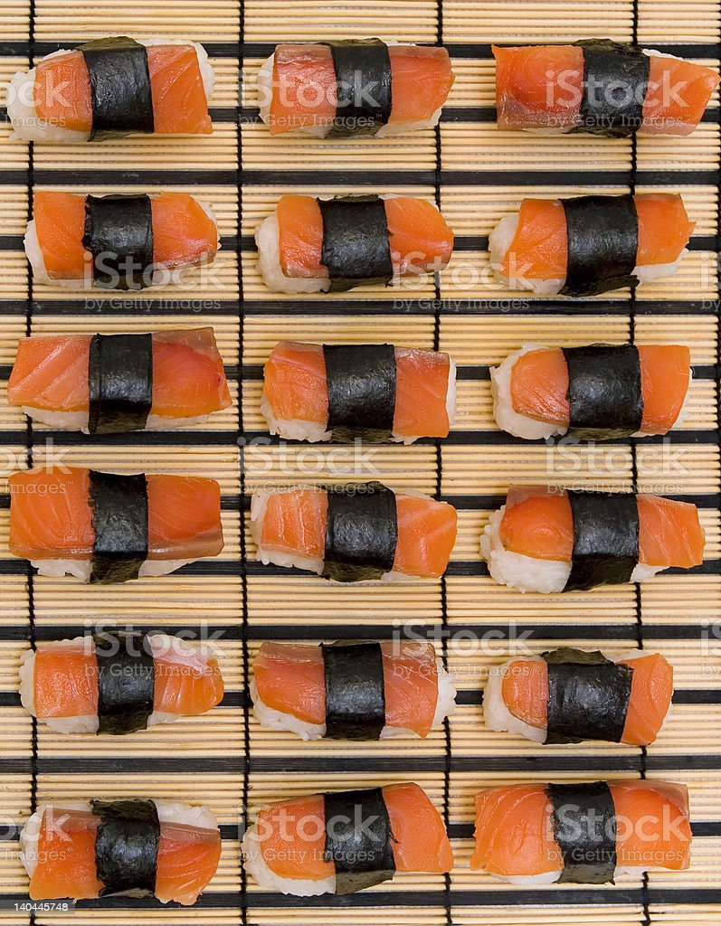 Salmon Nigiri Sushi background royalty-free stock photo
