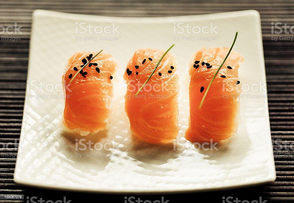 Salmon Nigiri Sushi royalty-free stock photo