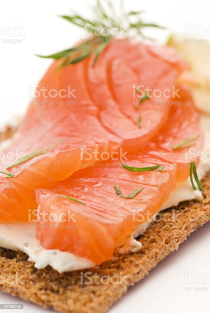 Salmon on Crispbread royalty-free stock photo