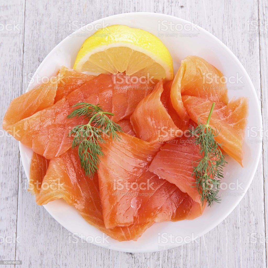 salmon on plate stock photo