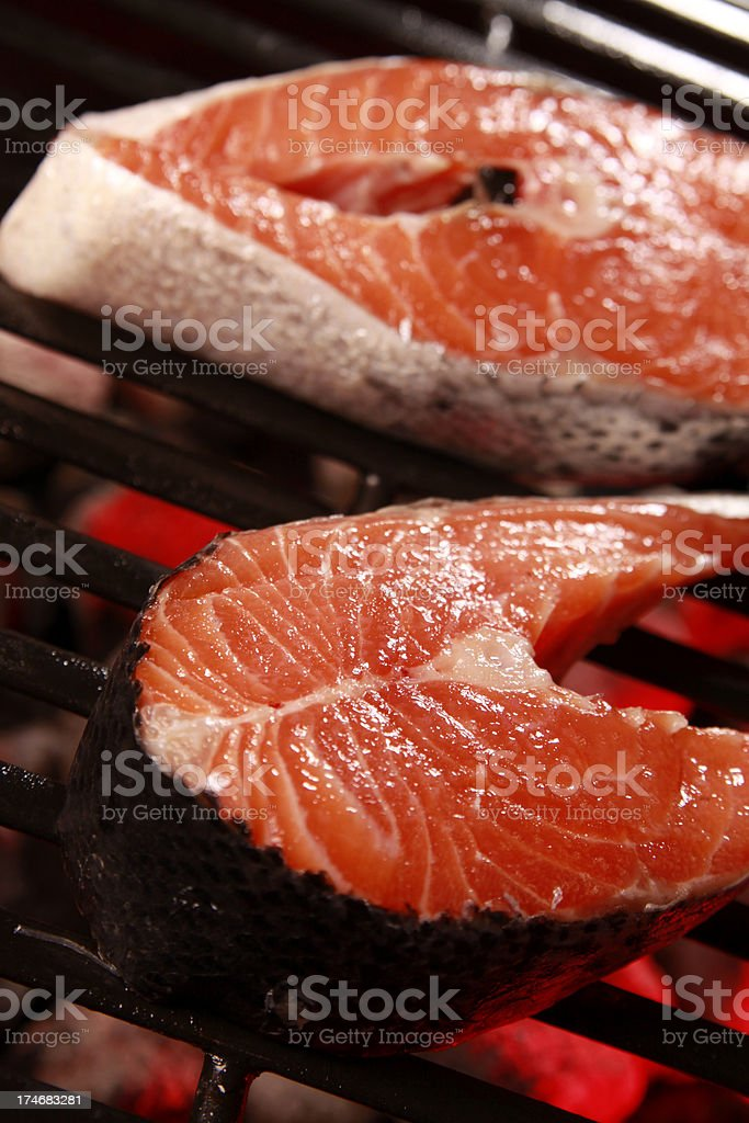 Salmon on the Barbecue royalty-free stock photo