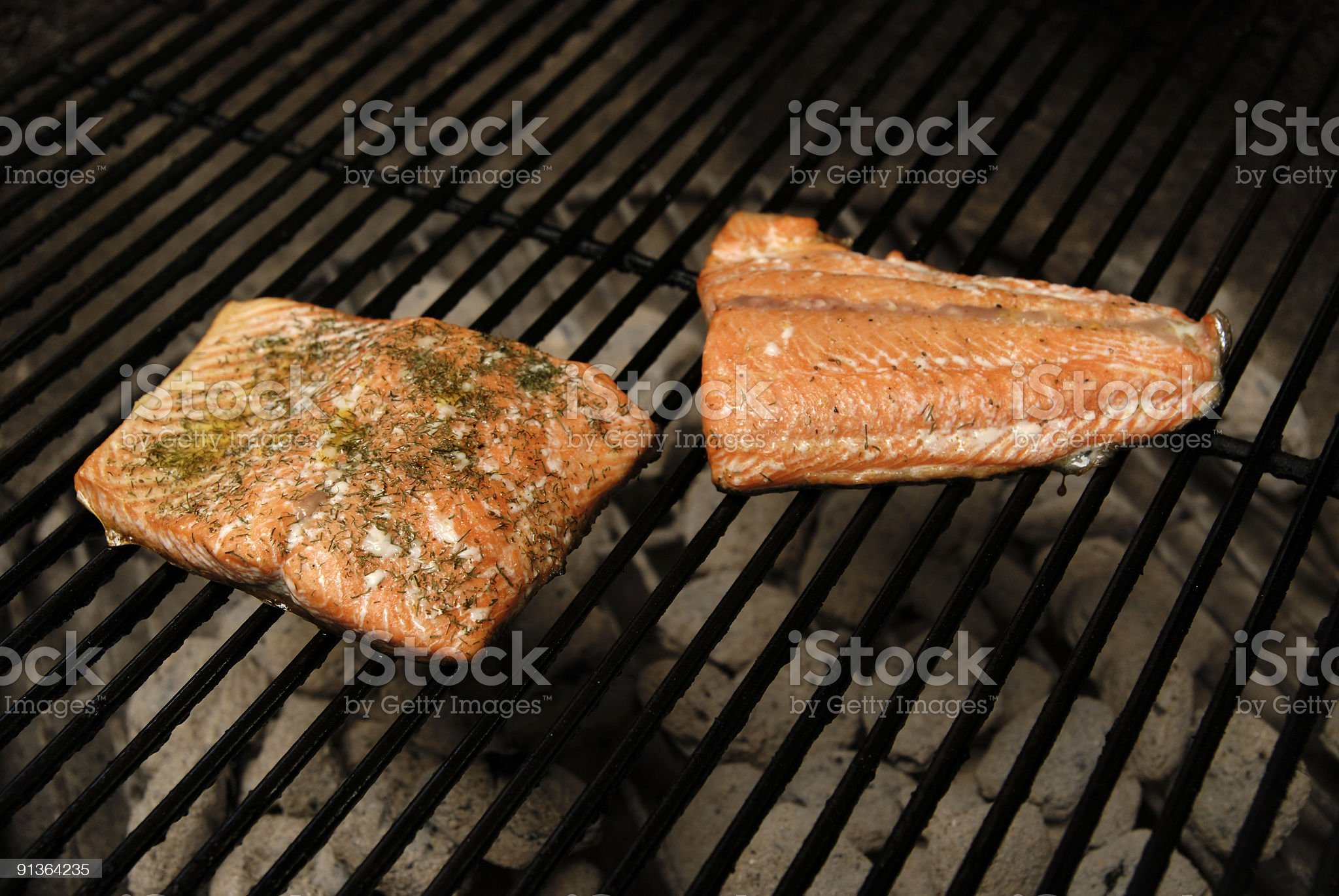 Salmon on the Grill royalty-free stock photo