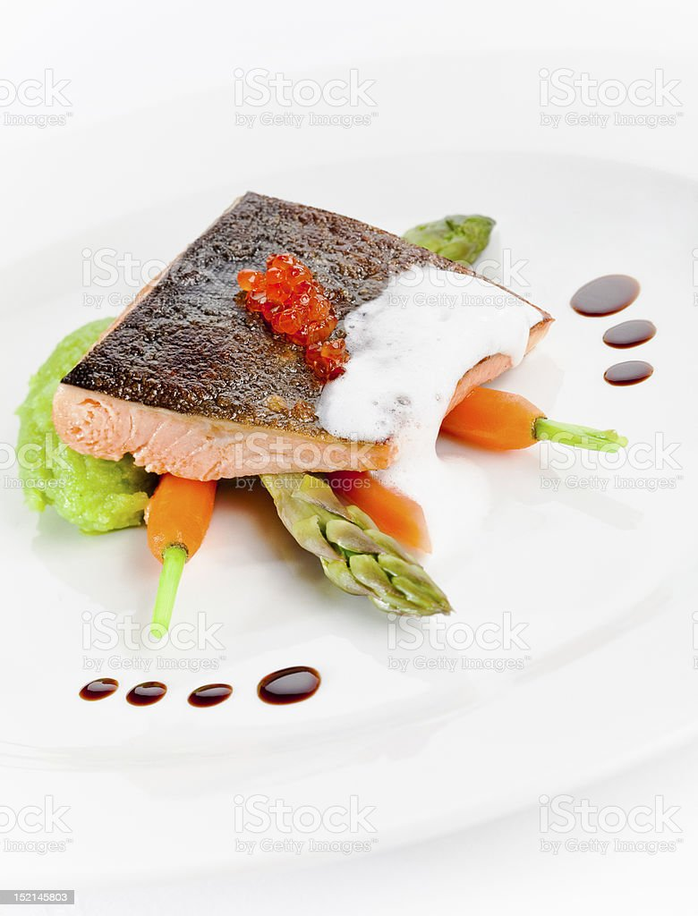 Salmon on the plate royalty-free stock photo