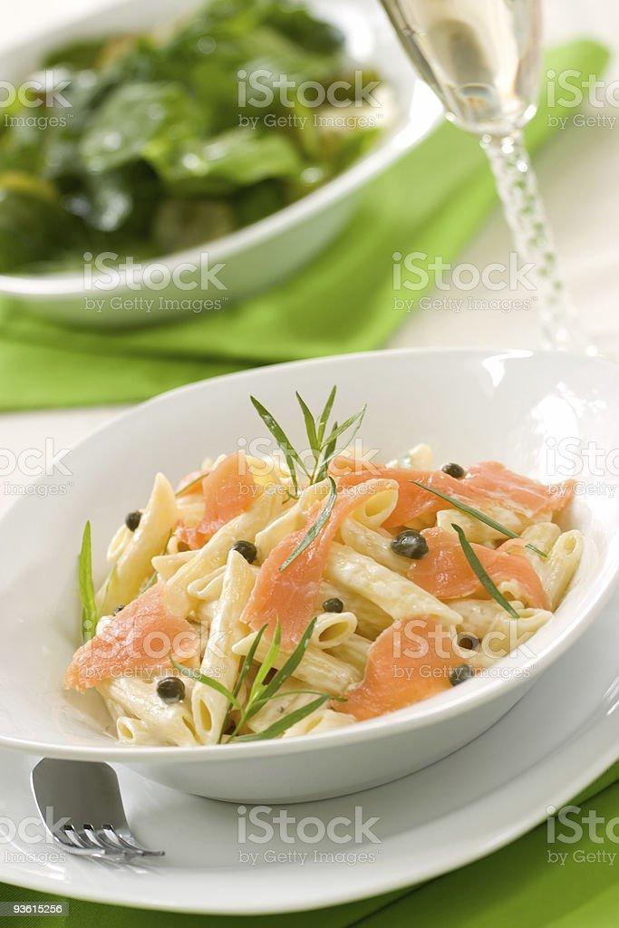 Salmon Pasta royalty-free stock photo