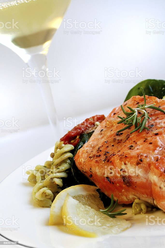 Salmon, Pasta Salad and White Wine royalty-free stock photo
