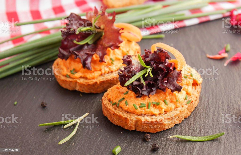 salmon pate on toast rye bread stock photo