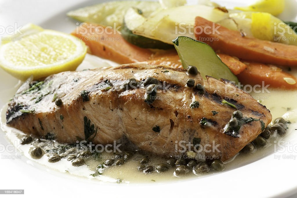 Salmon Piccata stock photo
