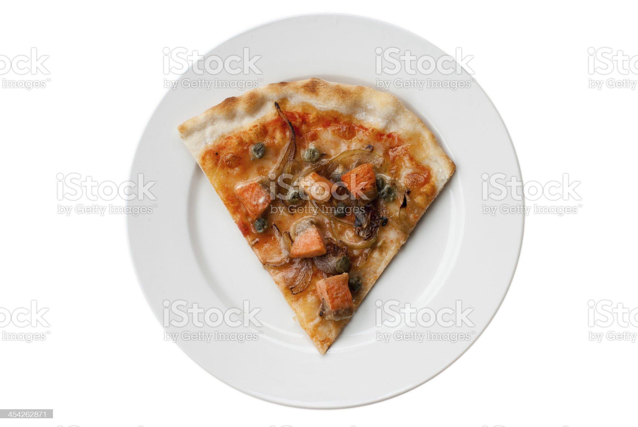Salmon pizza royalty-free stock photo