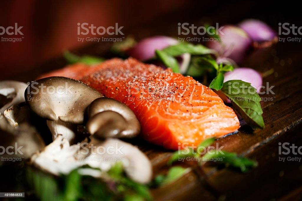 Salmon Prepared For Meal stock photo