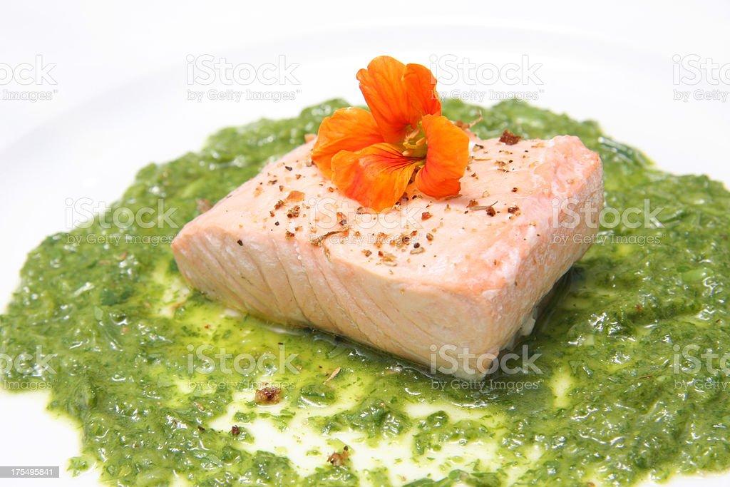 Salmon prepared  with salsa verde and Nasturtium flower stock photo