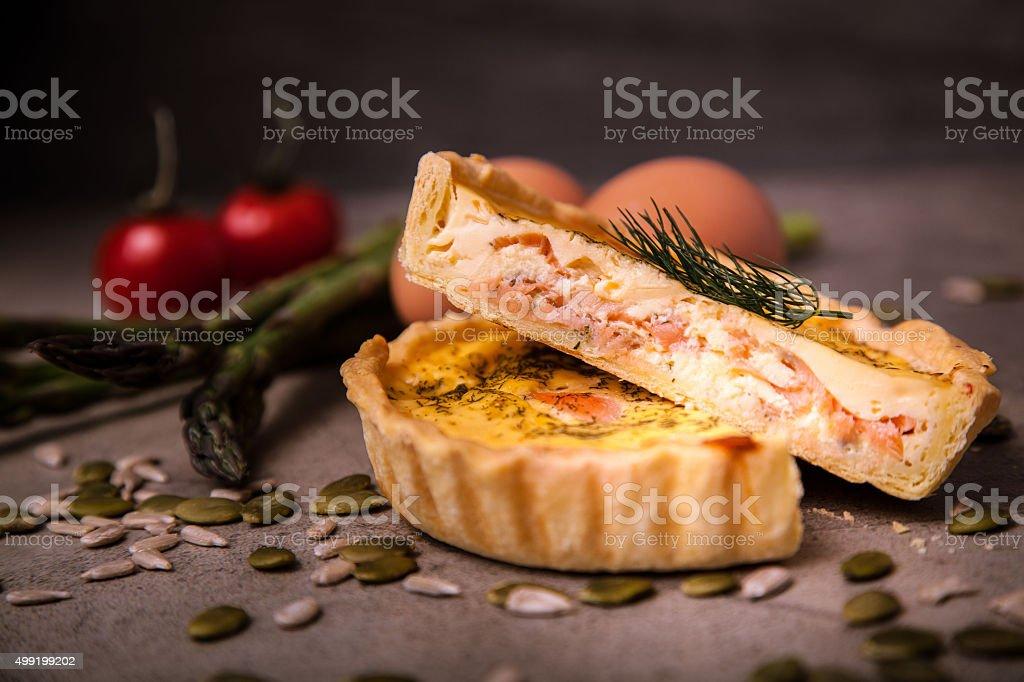 Salmon Quiche stock photo