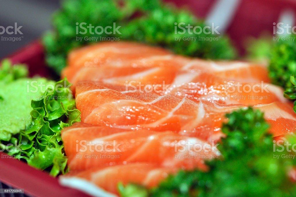 Salmon raw fresh Sashimi stock photo