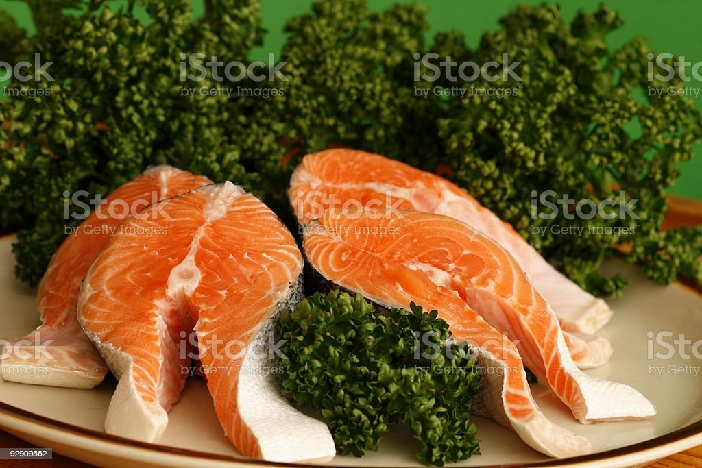 Salmon ready for cooking royalty-free stock photo