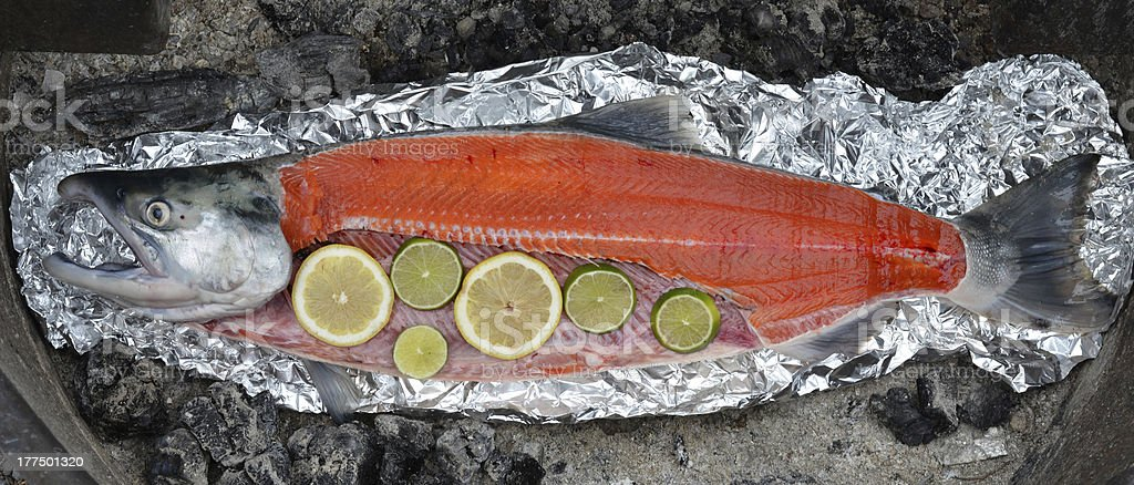 Salmon ready to grill royalty-free stock photo
