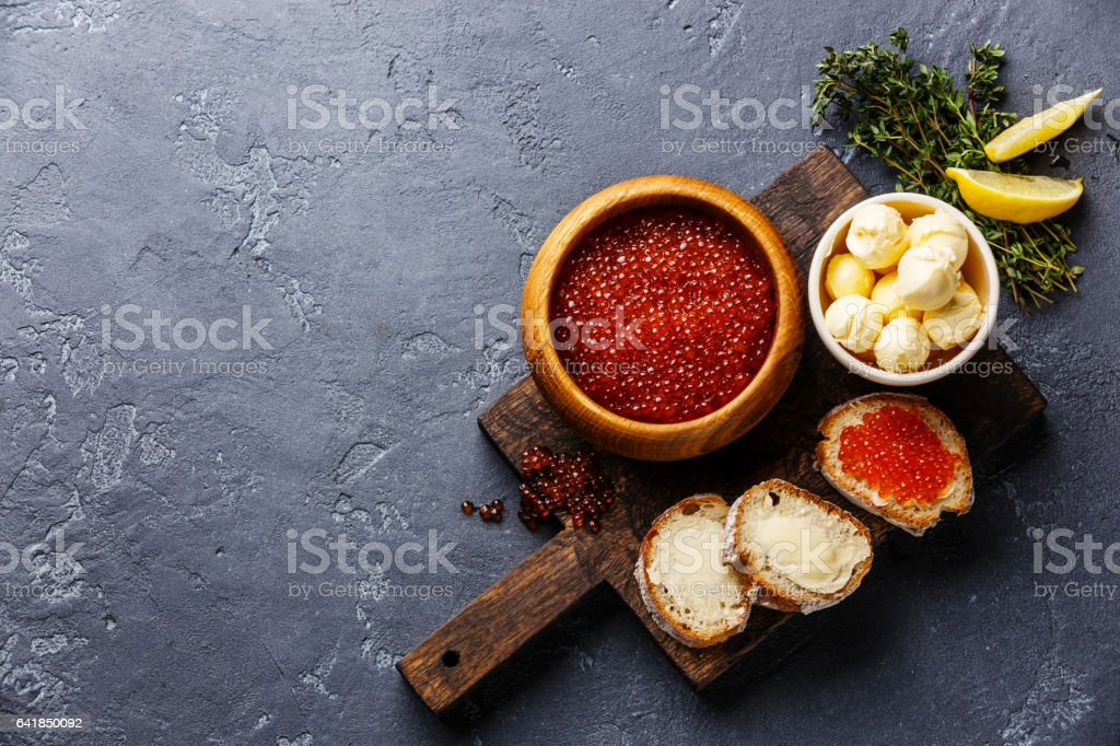 Salmon red caviar and Sandwiches stock photo
