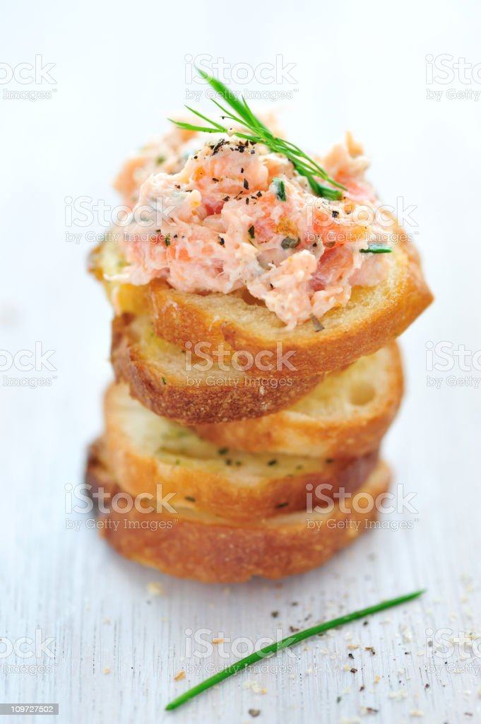 Salmon Rillette Appetizer, not plated on a white background royalty-free stock photo