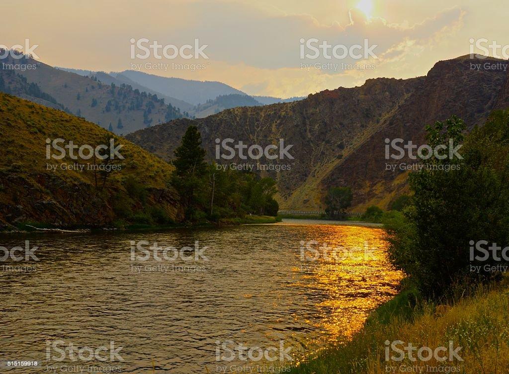 Salmon River Sunset stock photo