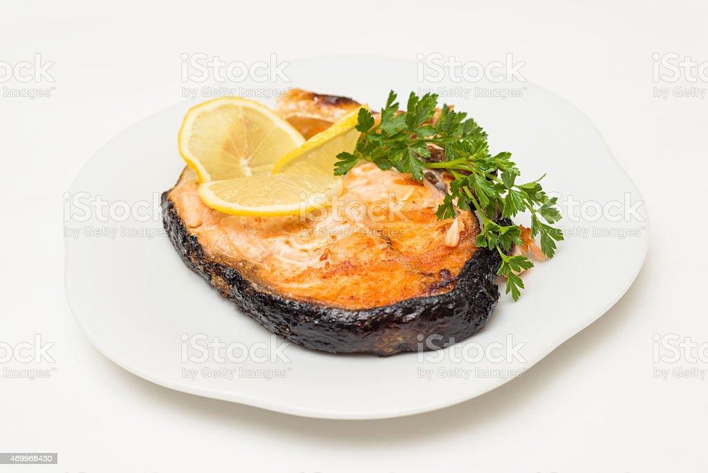 Salmon roast stock photo