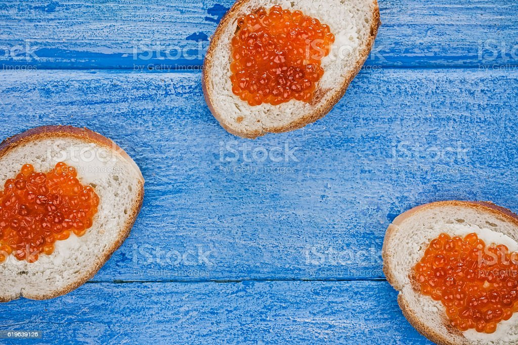 Salmon roe toasts stock photo