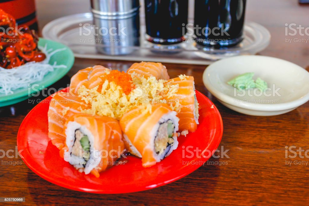 Salmon roll for healthy lunch stock photo