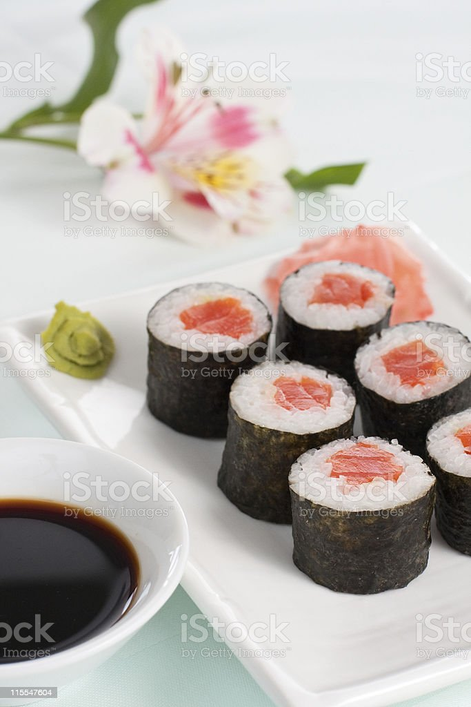 salmon roll royalty-free stock photo