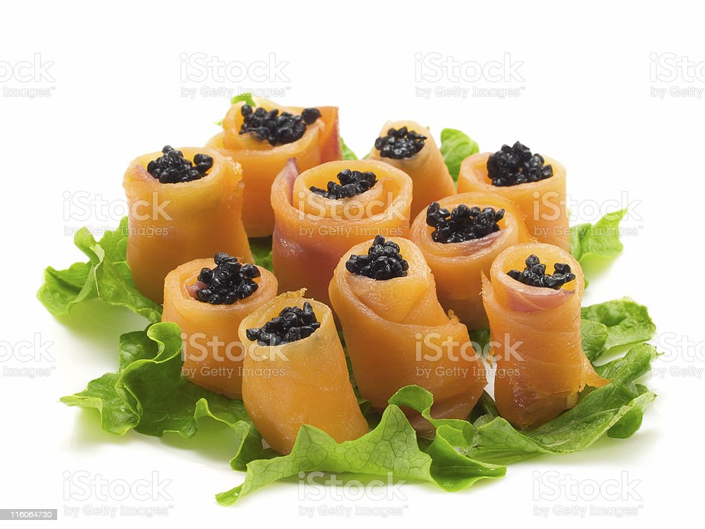 Salmon Rolls with Caviar royalty-free stock photo