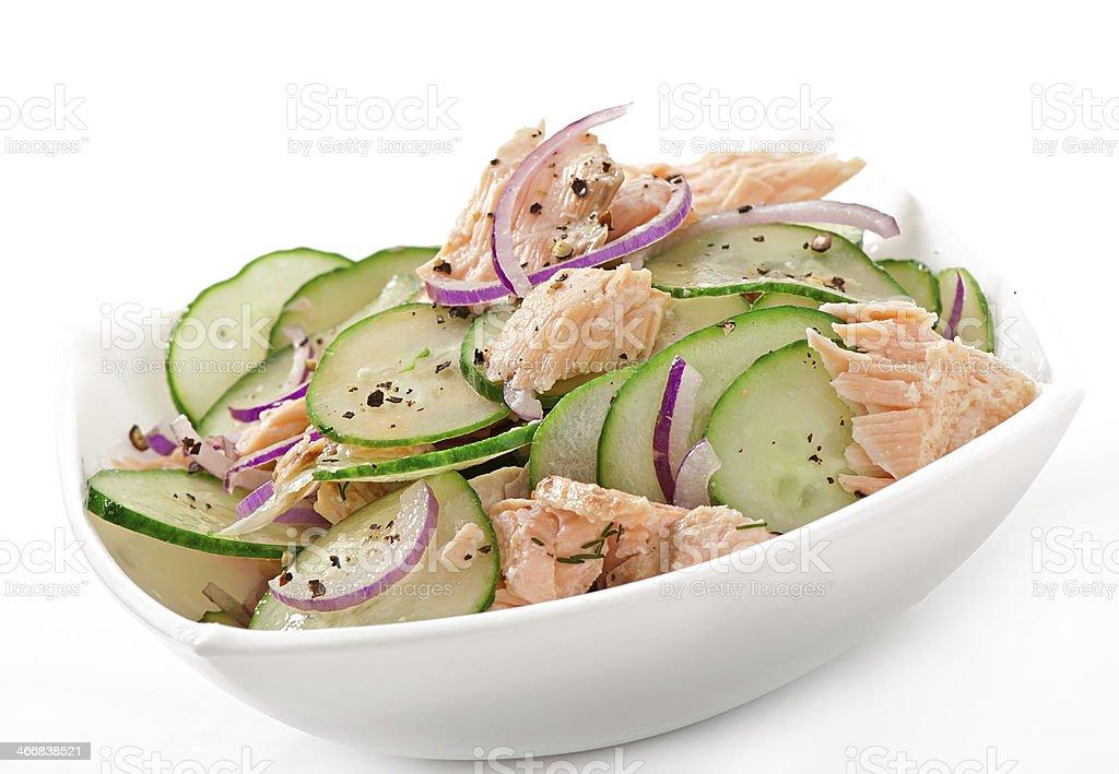 Salmon salad and cucumber stock photo