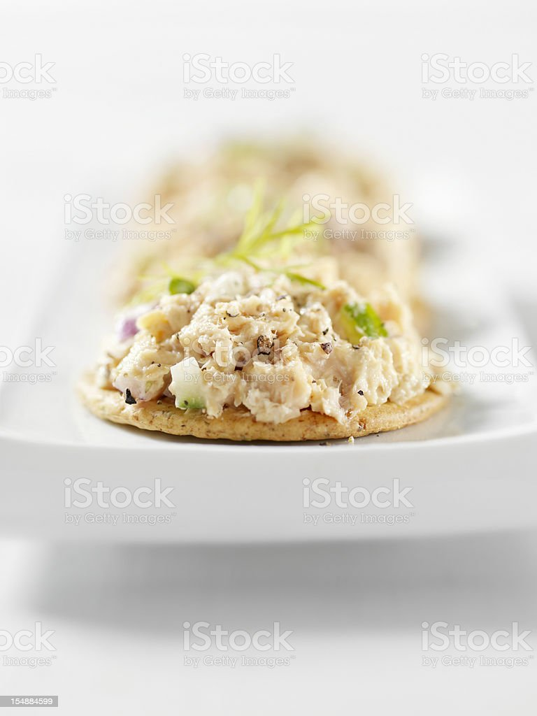 Salmon Salad Canapes royalty-free stock photo