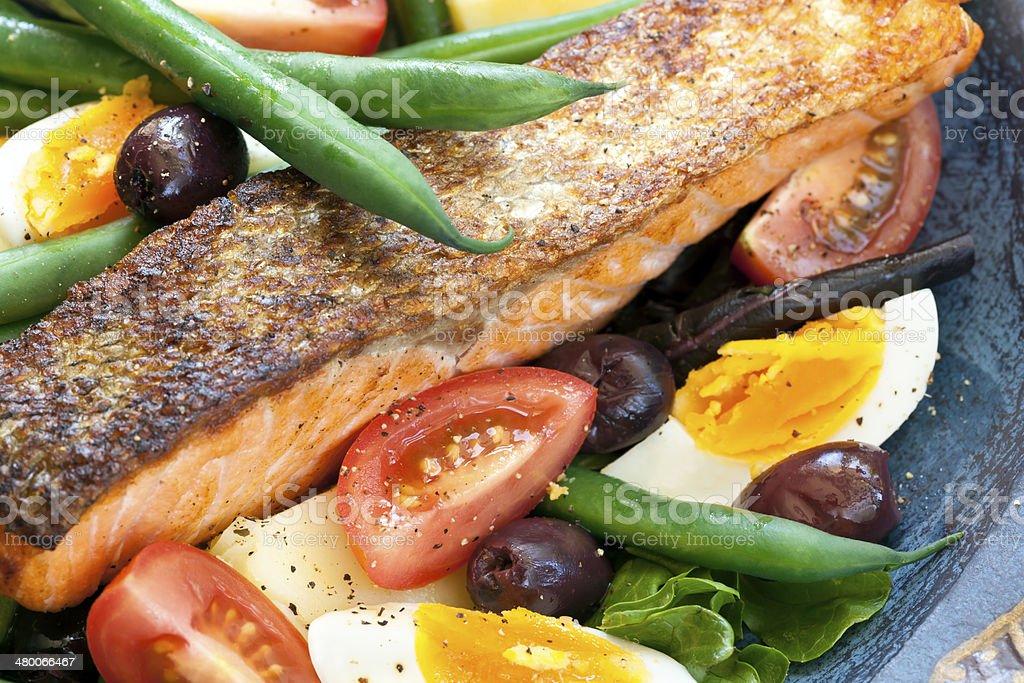 Salmon Salad Nicoise stock photo