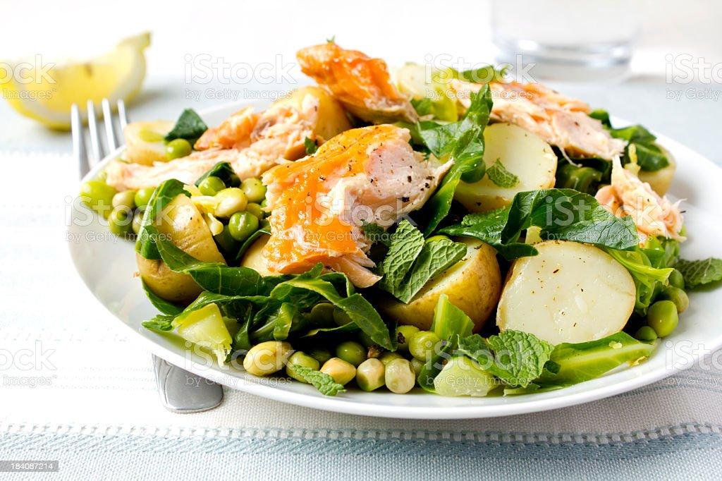 Salmon salad on decorated table stock photo