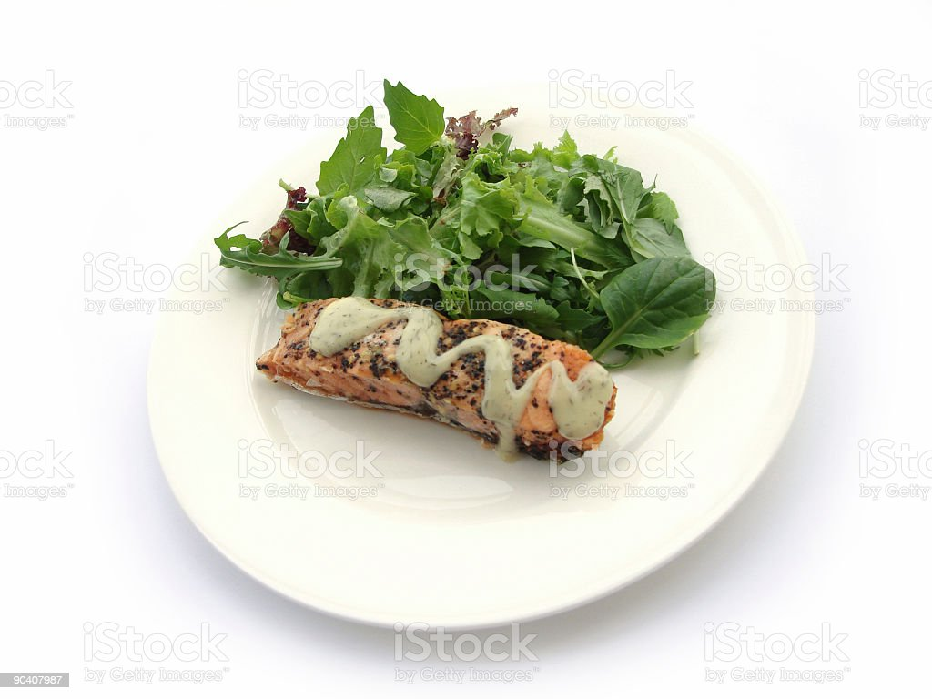 Salmon & Salad on white royalty-free stock photo
