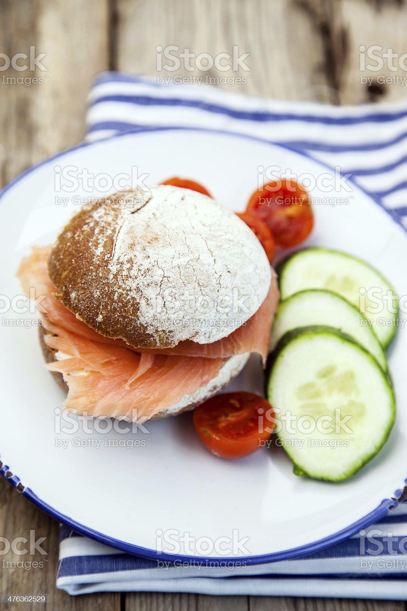 Salmon sandwich royalty-free stock photo