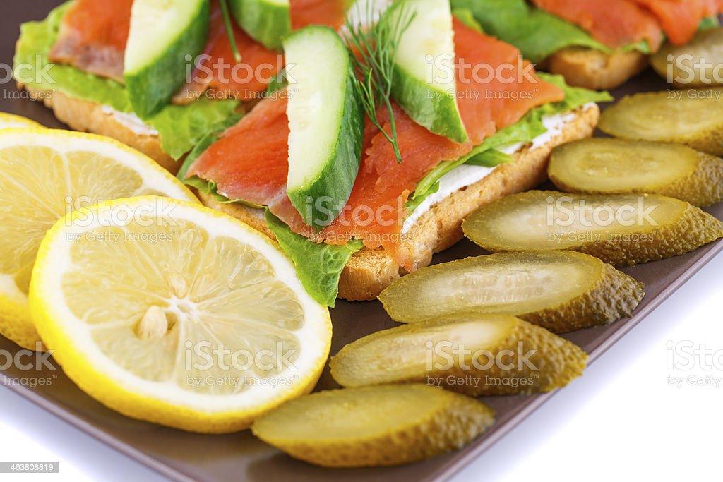 Salmon sandwiches royalty-free stock photo