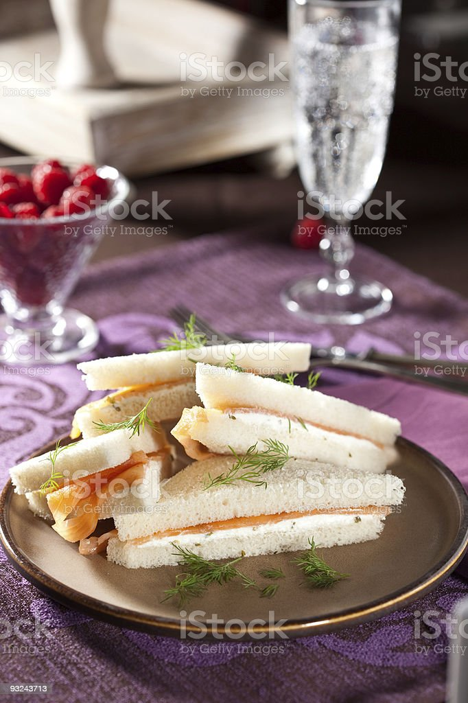 Salmon sandwiches royalty-free stock photo