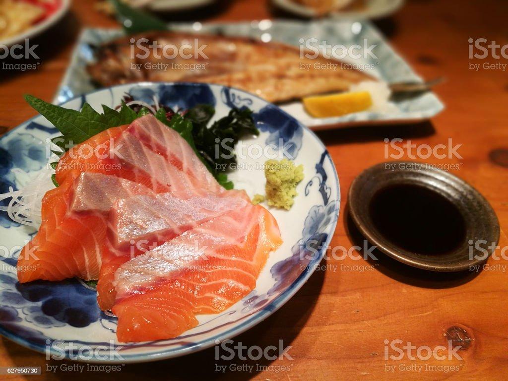 Salmon sashimi and Hokke fish stock photo