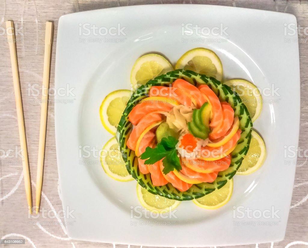 Salmon sashimi dish stock photo