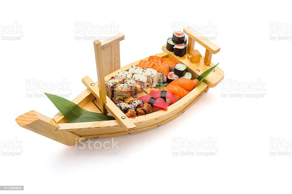 Salmon sashimi on a bamboo list and ice stock photo