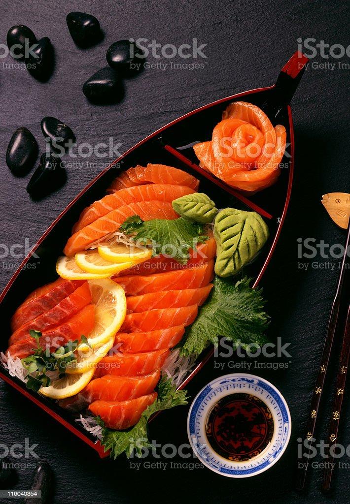 Salmon Sashimi on Black Rock 8x10 Film royalty-free stock photo