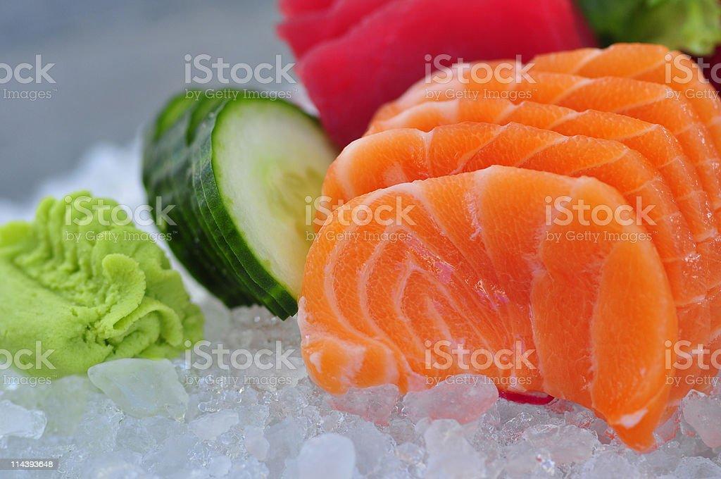 Salmon sashimi on ice royalty-free stock photo