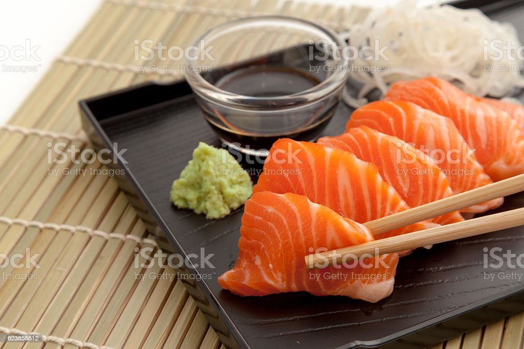 Salmon sashimi on the plate stock photo